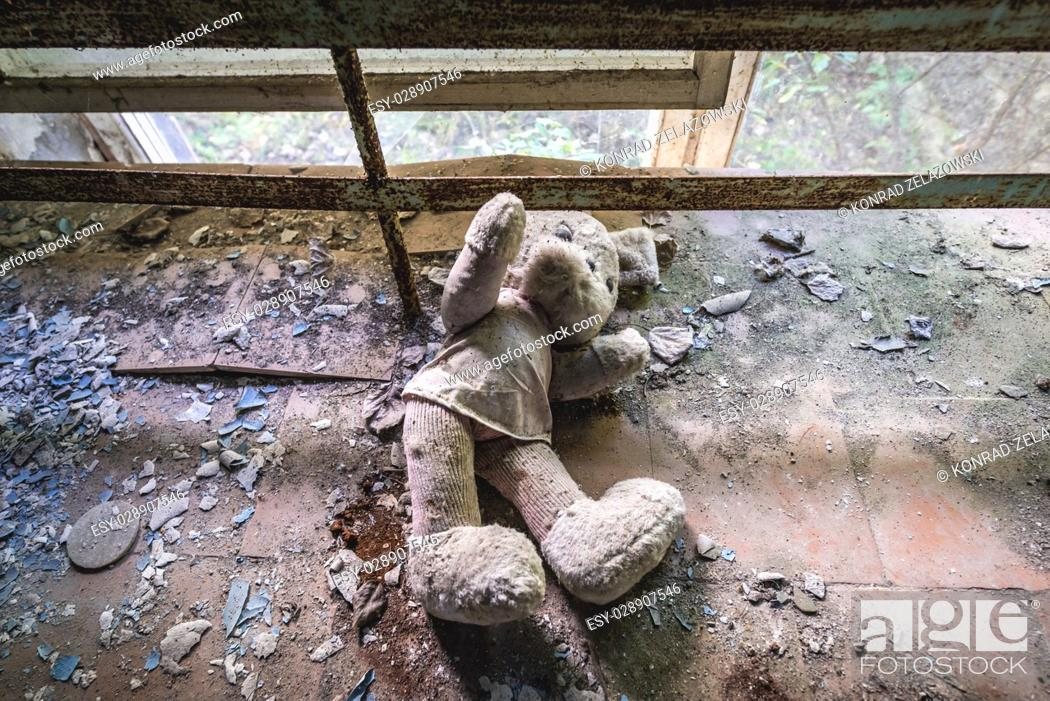 Stock Photo: Plush toy in abandoned Jupiter Factory in Pripyat ghost town of Chernobyl Nuclear Power Plant Zone of Alienation in Ukraine.