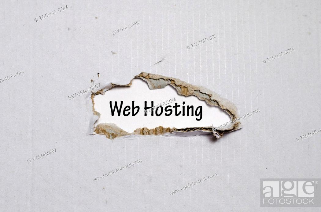 Stock Photo: The word web hosting appearing behind torn paper.