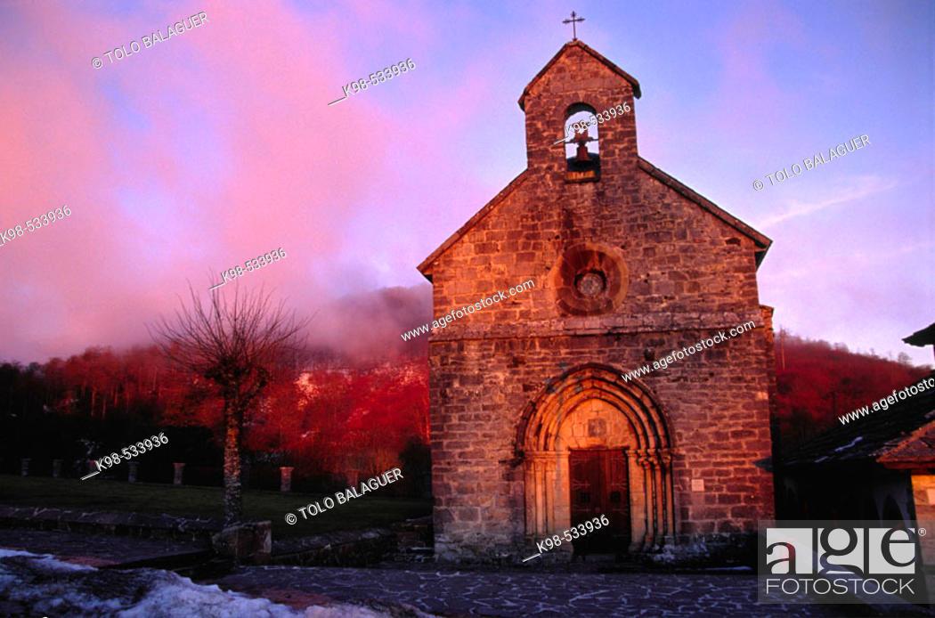 Stock Photo: Santiago church (s.XIII), Camino de Santiago. Roncesvalles. Valle de Salazar. Pyrenees. Navarra. Spain.