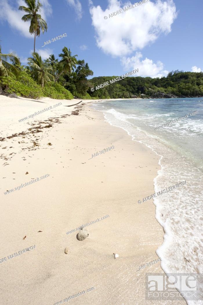 Stock Photo: Baie Ternay beach and Baie Ternay Marine National Park on the west coast of Mahé island, Seychelles.