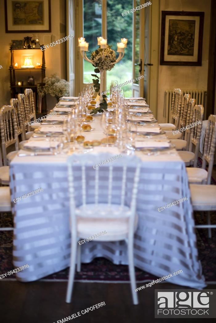 Stock Photo: tables prepared and decorated for wedding reception.