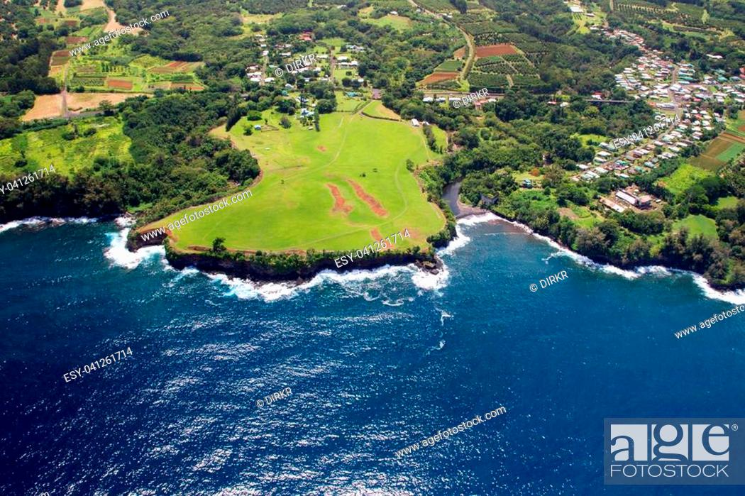 Stock Photo: Aerial view of the little town Papaikou north of Hilo on Big Island, Hawaii, USA.