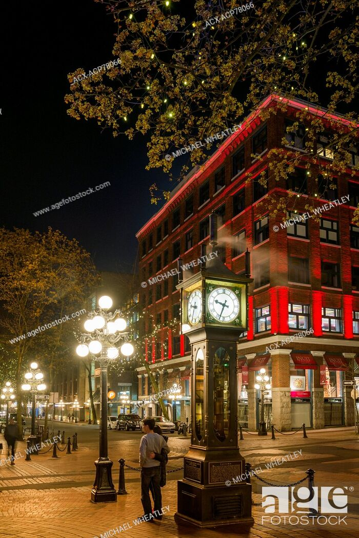 Stock Photo: The Gastown Steam Clock, Vancouver, British Columbia, Canada.