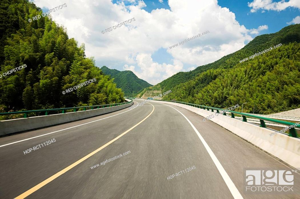 Stock Photo: Road passing through mountains, Huangshan Mountains, Anhui Province, China.