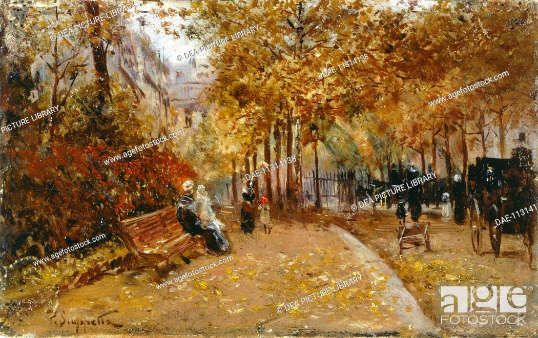 Stock Photo: City Park, by Pietro Scoppetta (1863-1920), oil on panel, 10x16 cm.  Private Collection.