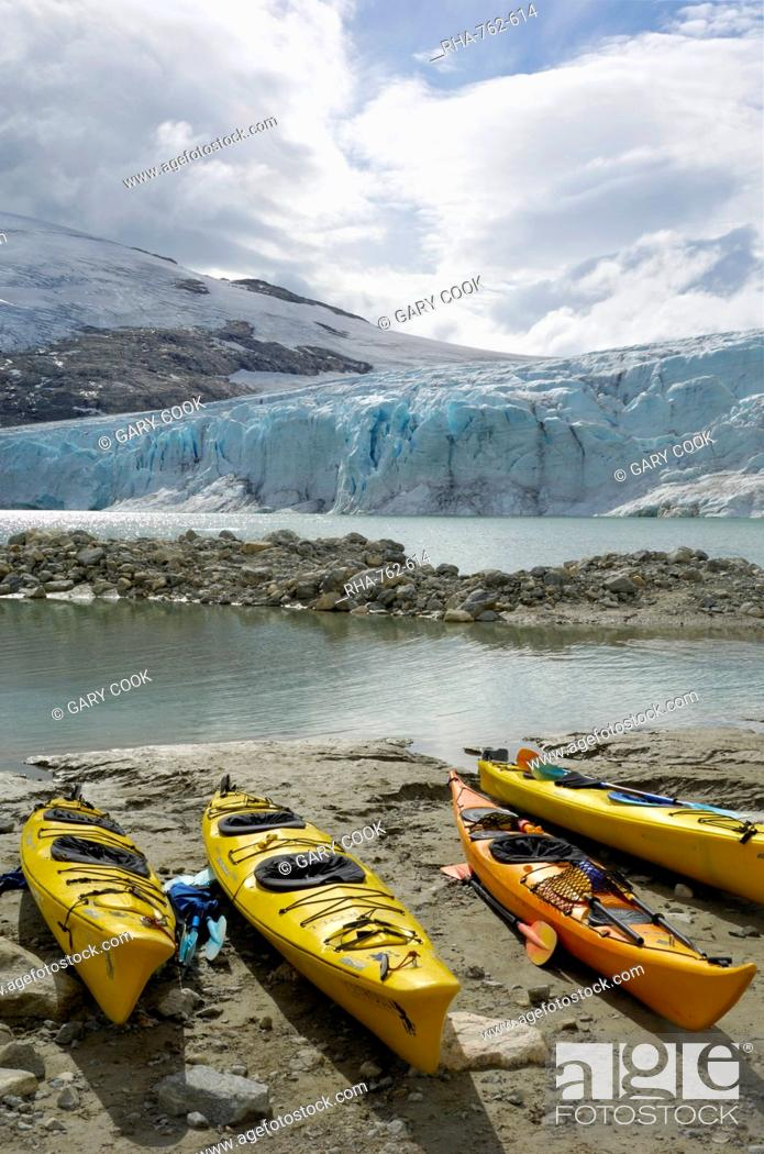 Stock Photo: Kayaks, Austdalsbreen Glacier, Styggevatnet Lake, Jostedalsbreen Icecap, Sogn og Fjordane, Norway, Scandinavia, Europe.