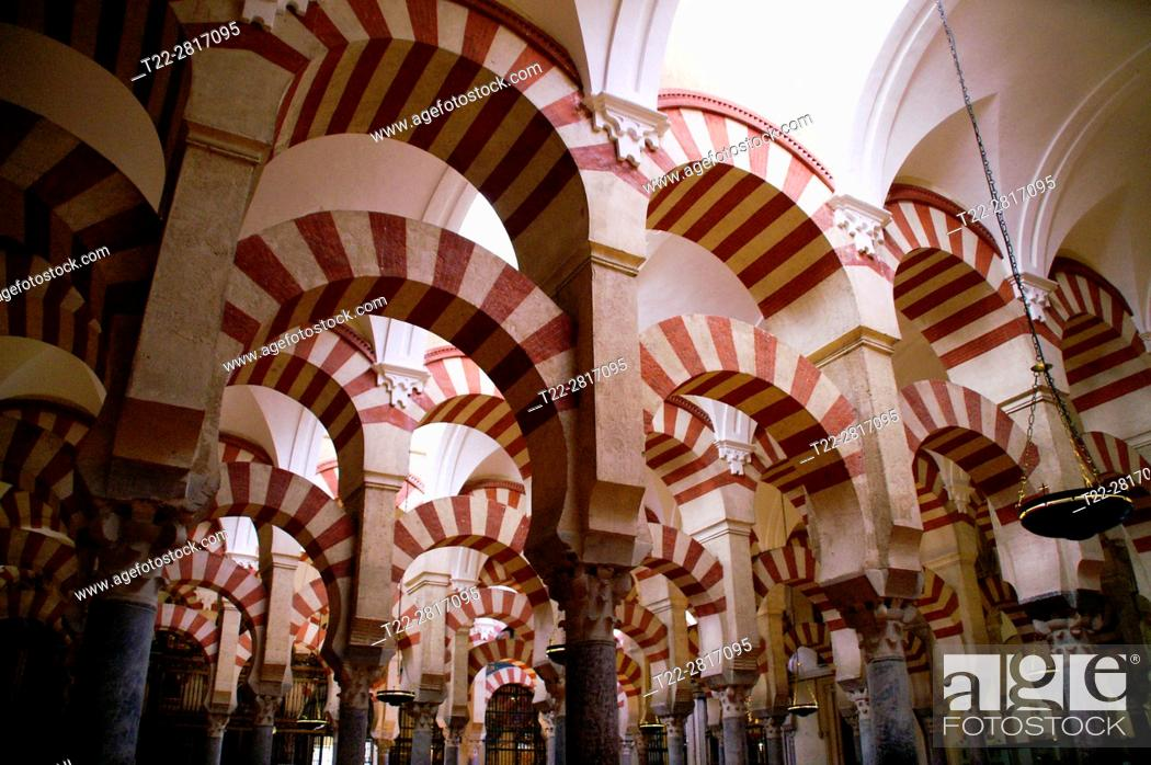 Stock Photo: Cordoba (Spain). Arab arches in the interior of the Mosque of Cordoba.