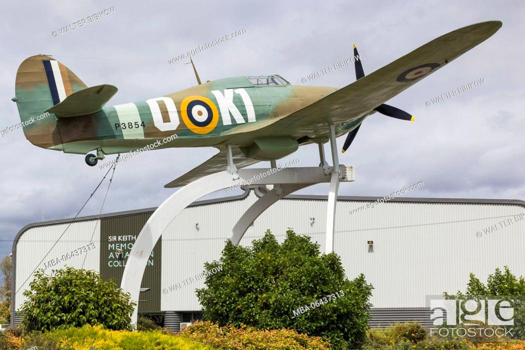 Stock Photo: New Zealand, North Island, Auckland, MOTAT, Museum of Transportation and Technology, Aviation Hall, exterior with WW2-era Hawker Hurricane.