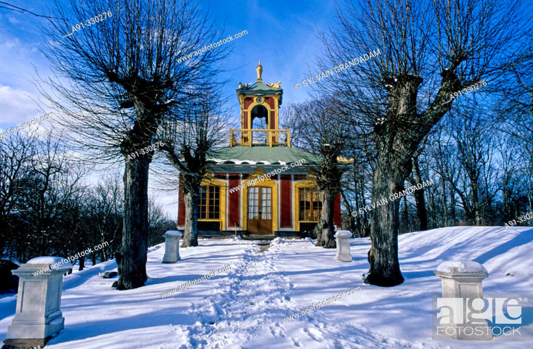 Stock Photo: The China Palace in winter. Royal Palace of Drottningholm. Stockholm. Sweden.