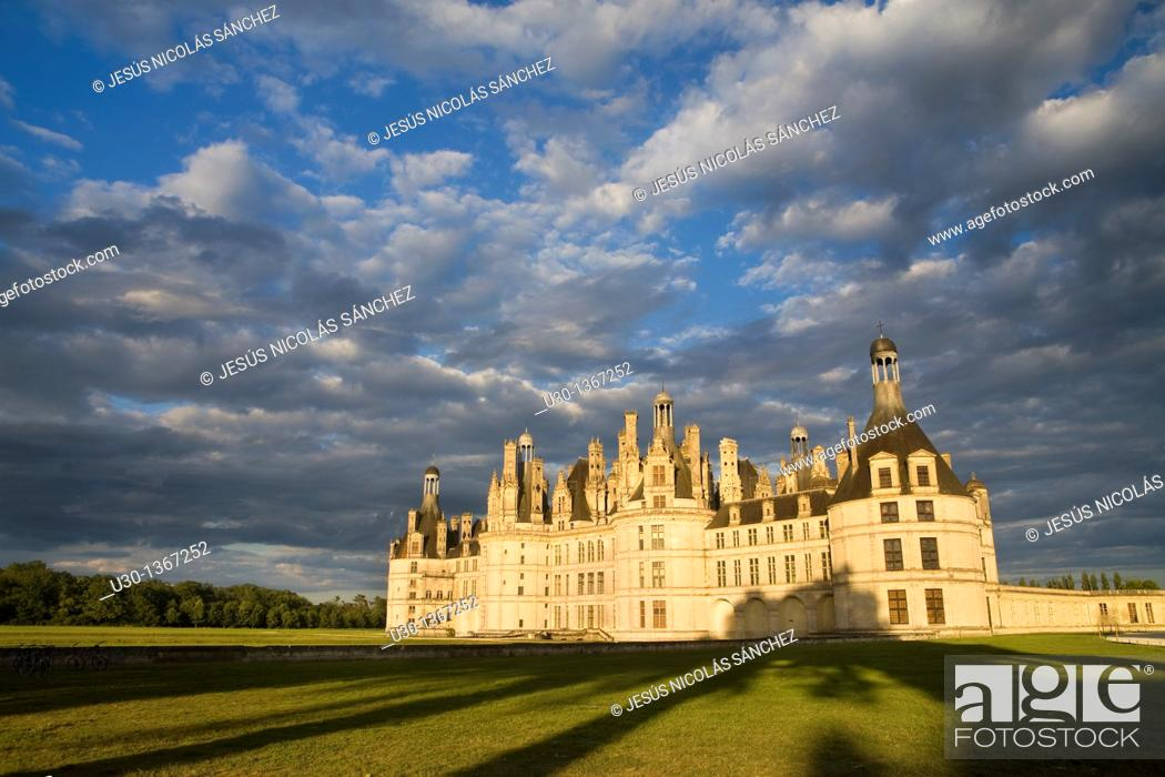Stock Photo: Sunset  Chambord castle in Loire Valley listed as World Heritage by UNESCO  France.