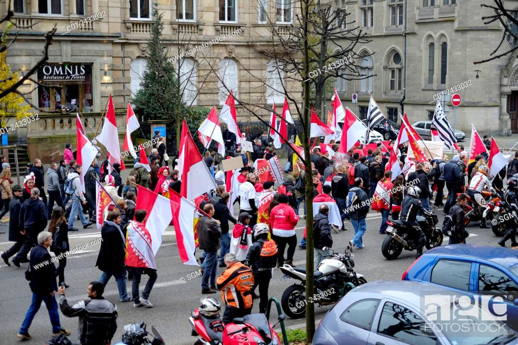 Stock Photo: October 2014 Protest march against French regions' enlargement project, Strasbourg Alsace France.