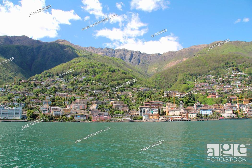 Stock Photo: Switzerland, Europe, Ticino, Brissago, Lago Maggiore, shore, houses, homes, lake,.