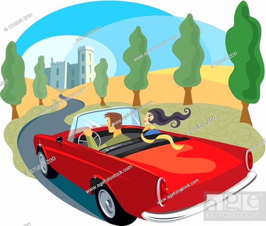 Stock Photo: Couple driving towards a castle.