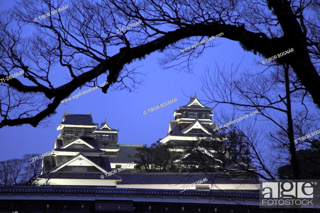 Stock Photo: Japan, Kumamoto, Kumamoto-jo, Castle, exterior, night,.