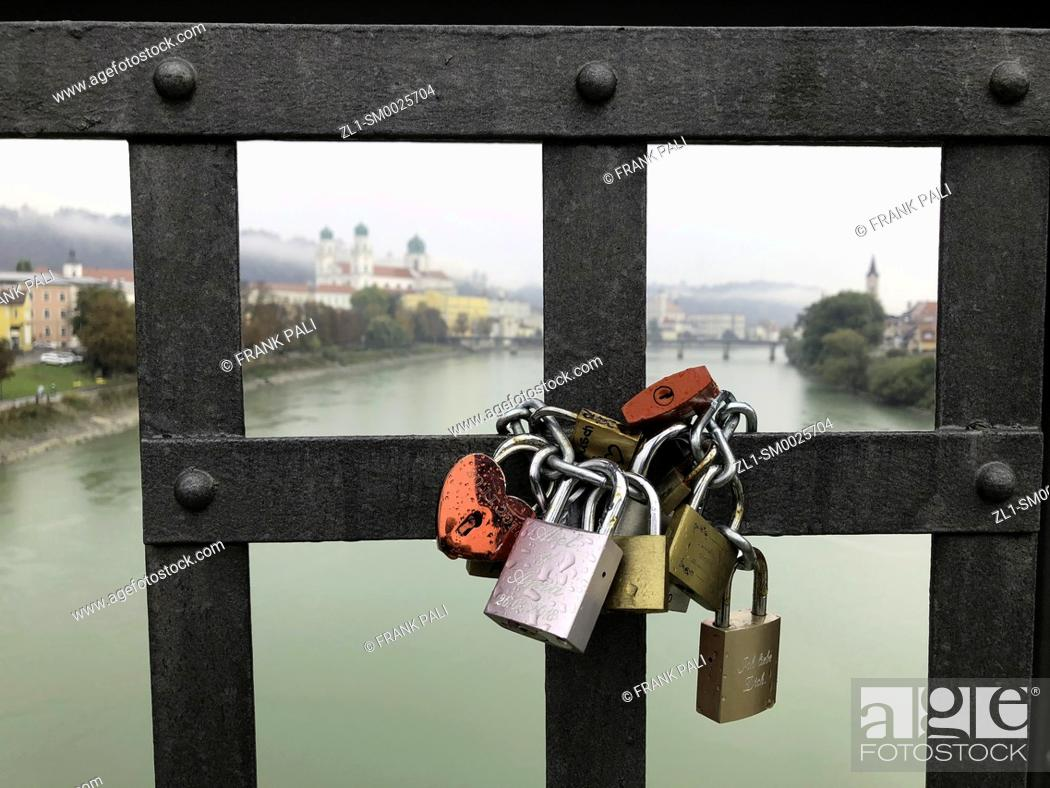Stock Photo: Love locks the keys are thrown into the Inn river Germany.