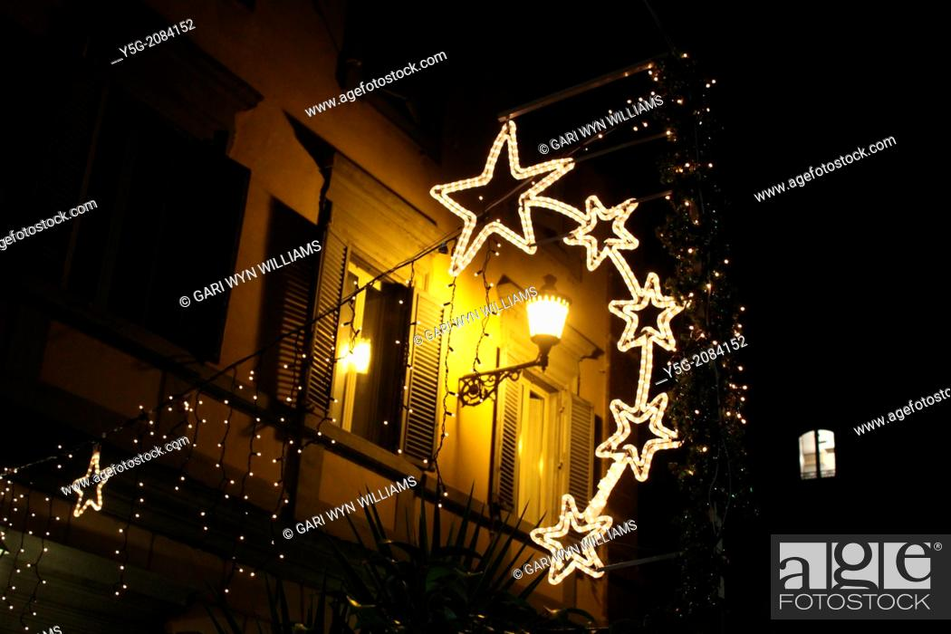 Stock Photo: Rome, Italy 9 December 2013 Christmas lights in the centre of Rome, Italy.
