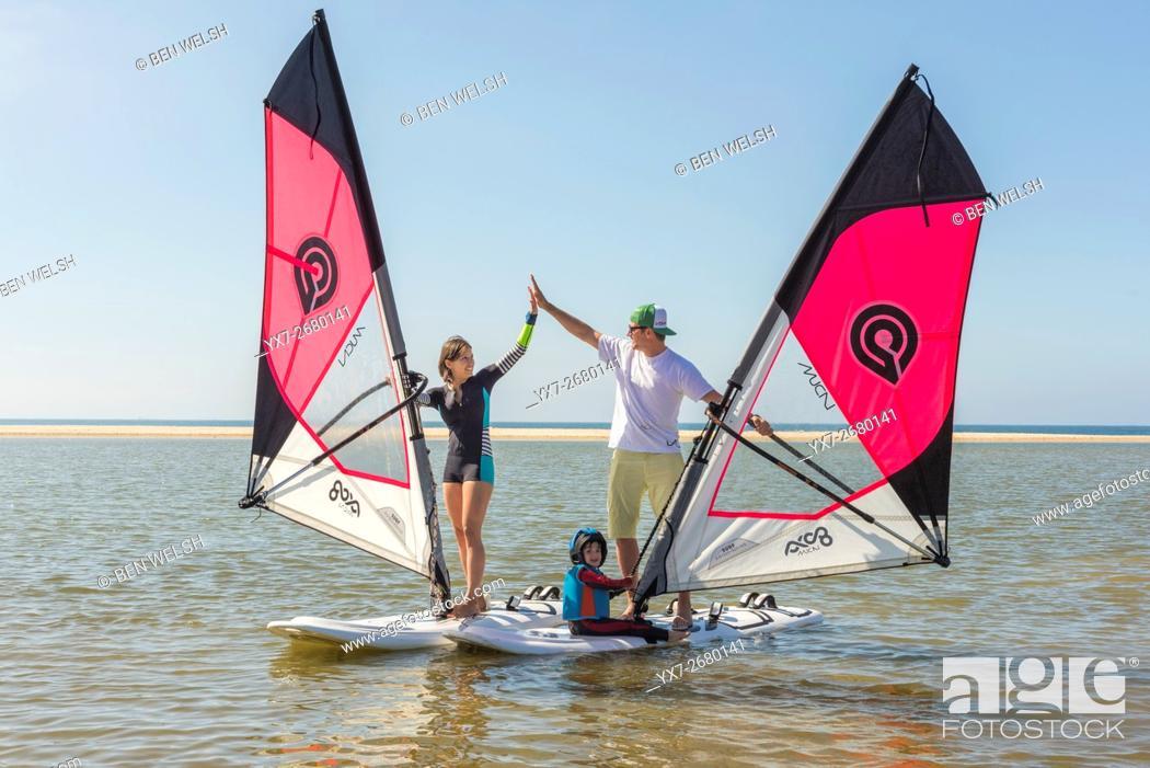 Stock Photo: Windsurfing Instructor. Tarifa, Costa de la Luz, Cadiz, Andalusia, Spain, Southern Europe.