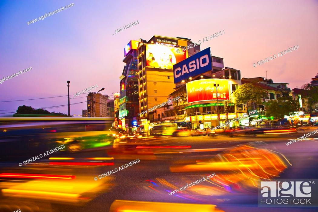 Stock Photo: Traffic. Ho Chi Minh City (formerly Saigon). South Vietnam.
