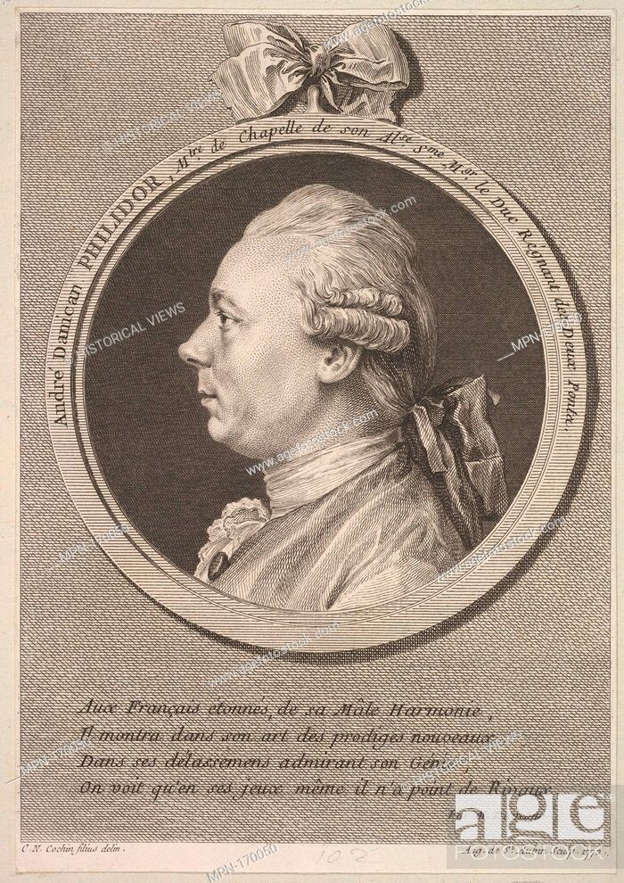 Stock Photo: Portrait of André Danican Philidor. Artist: Augustin de Saint-Aubin (French, Paris 1736-1807 Paris); Artist: After Charles Nicolas Cochin II (French.