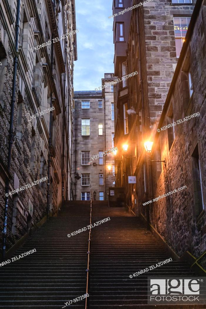 Stock Photo: Warriston Close stairs in Edinburgh, the capital of Scotland, part of United Kingdom.