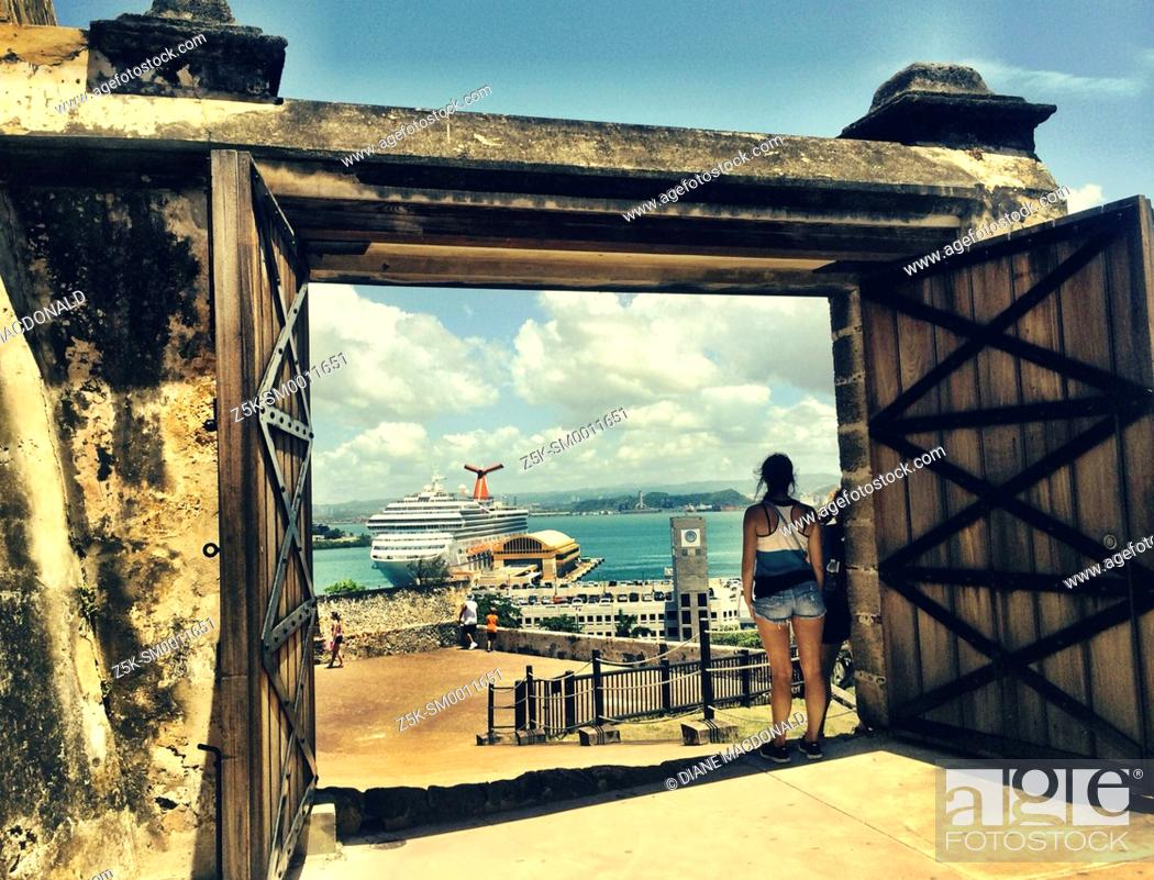 Stock Photo: Looking down on the harbor at San Juan, Puerto Rico from a gate at Castillo de San Cristobal, a fort built by Spain and completed in 1783.