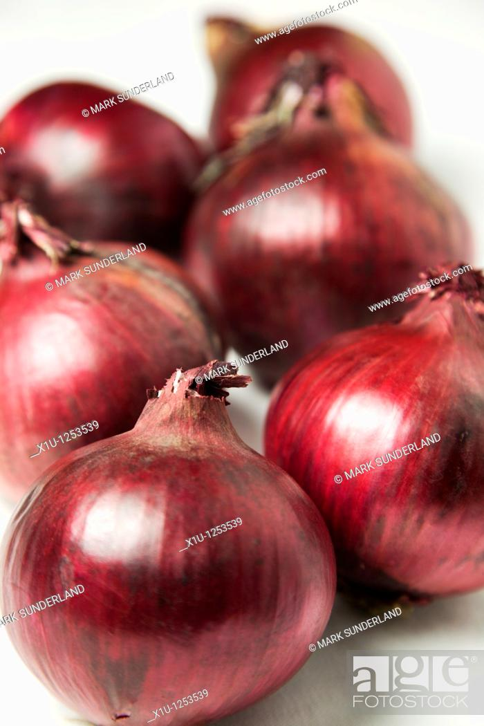 Stock Photo: Red Onions and a White Background.