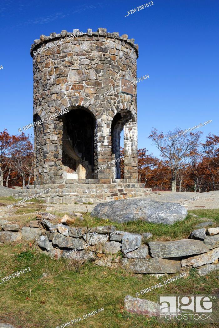 Stock Photo: Mt. Battie Tower on the summit of Mt. Battie in Camden Hills State Park in Camden, Maine USA during the autumn months.