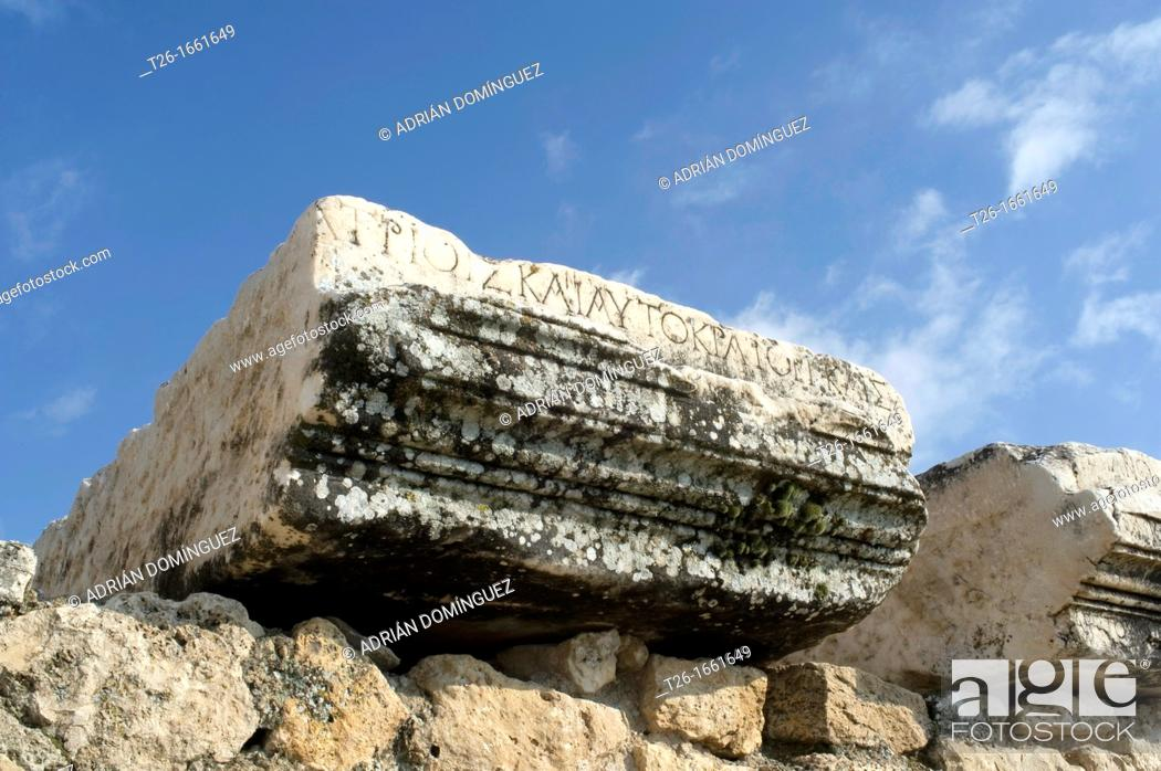 Stock Photo: Detail of a stone in Hierapolis of Pamukale, Turkey.
