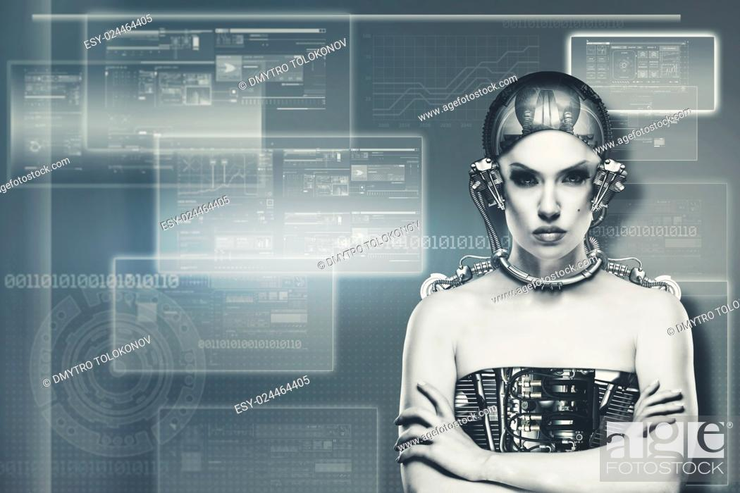Stock Photo: Techno female portrait. Science and technology concept.
