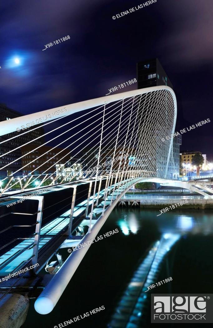 Stock Photo: Zubizuri white bridge, by night, designed by Santiago Calatrava  Bilbao, Biscay, Basque Country, Spain.