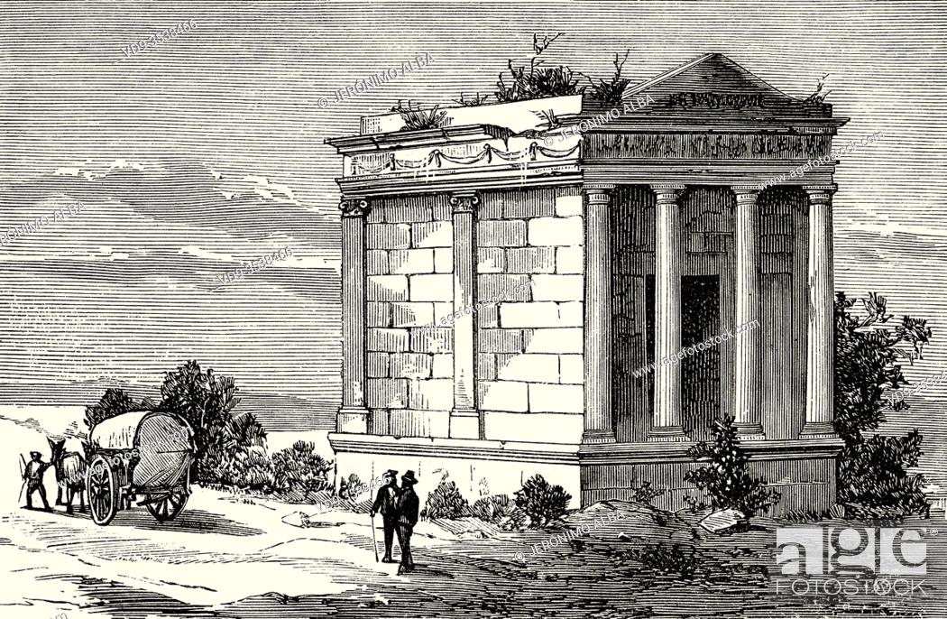 Imagen: The Roman mausoleum of Fabara. Roman tomb near Fabara, Zaragoza province, Aragon. Spain, Europe. Old 19th century engraved illustration.