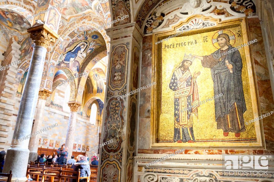 Stock Photo: Luxurious interior in the church of the Martorana. Palermo, Sicily. Italy.