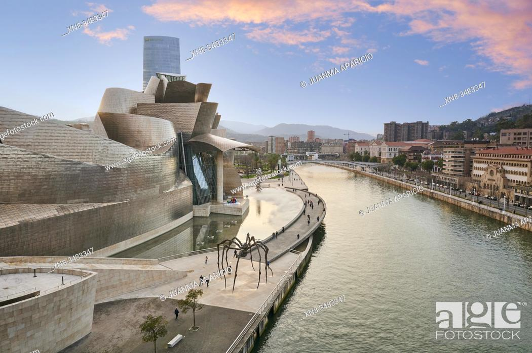 Stock Photo: Nervion River and detail of the Guggenheim Museum, Bilbao, Biscay, Basque Country, Euskadi, Euskal Herria, Spain, Europe.