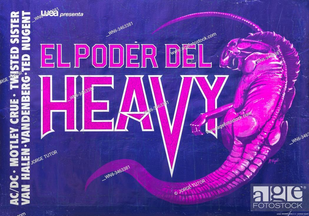 Imagen: El Poder del Heavy, Heavy Power, Musical concert poster, with ACDC, Motley Crue, Van Halen, Ted Nugent, Vandenberg.