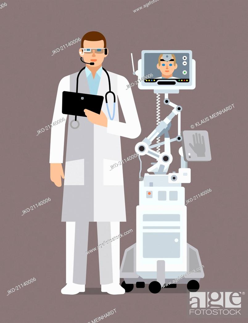 Stock Photo: Doctor using digital technology to communicate with colleague.