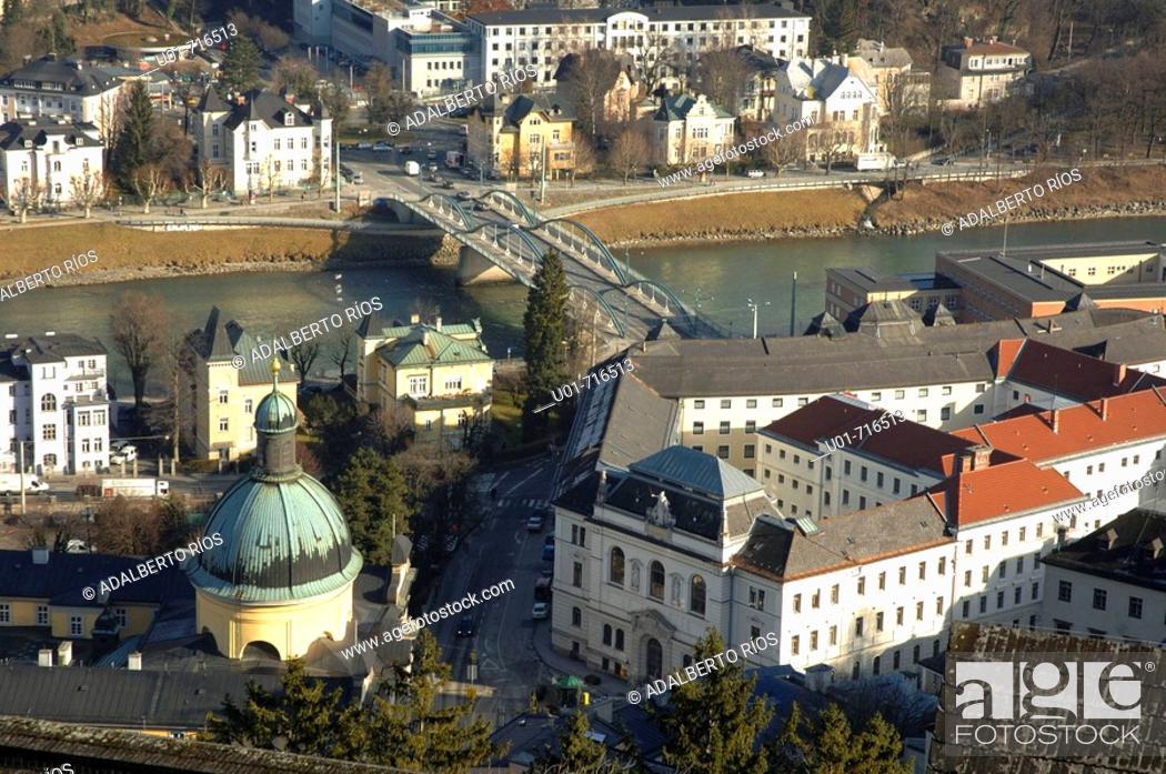 Stock Photo: View of St. Kajetan's church from Hohensalzburg Fortress. Salzburg. Austria.
