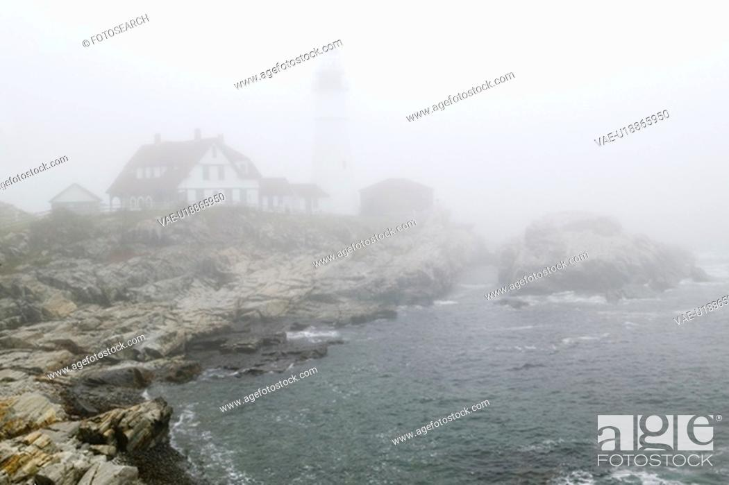 Stock Photo: Fog shrouds the Lighthouse.
