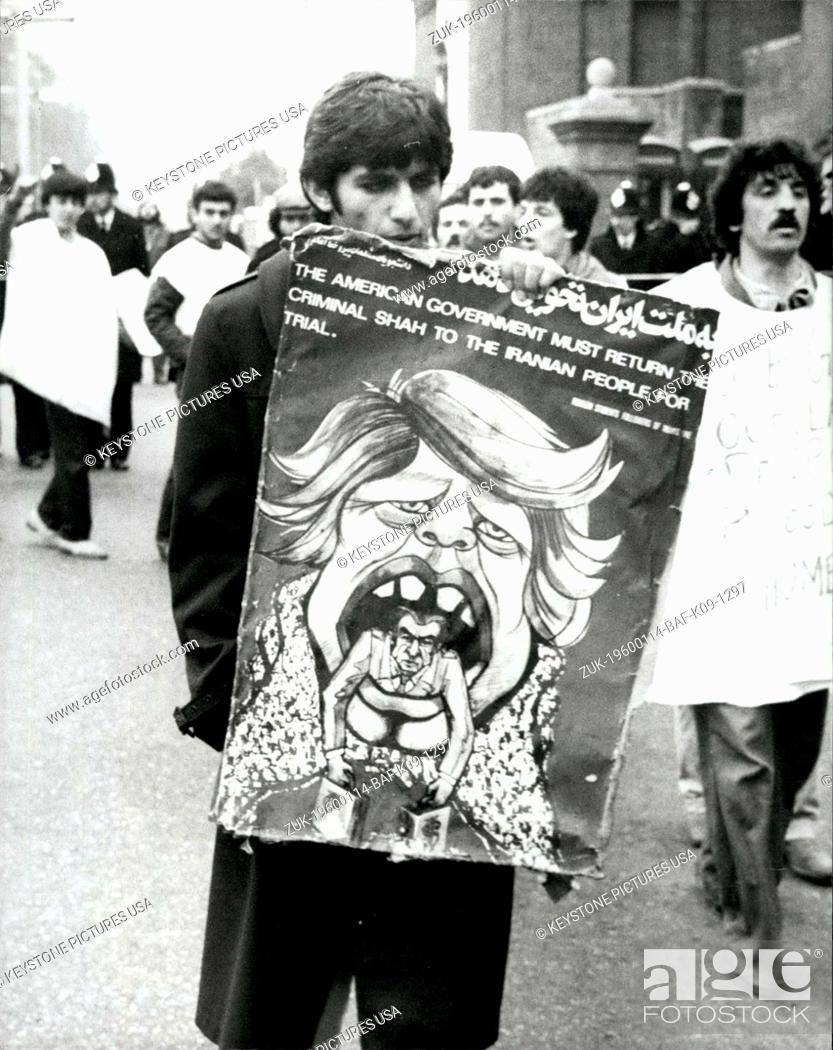 Stock Photo: 1980 - 1st May 1980 Iranian Embassy Siege A demonstrator in Kensington Gore, London, near the Iranian Embassy, carrying a poster caricaturing President Carter.