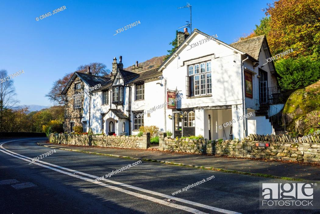Stock Photo: The Glen Rothay Hotel and Badger Bar at Rydal in the Lake District National Park. Cumbria. England.