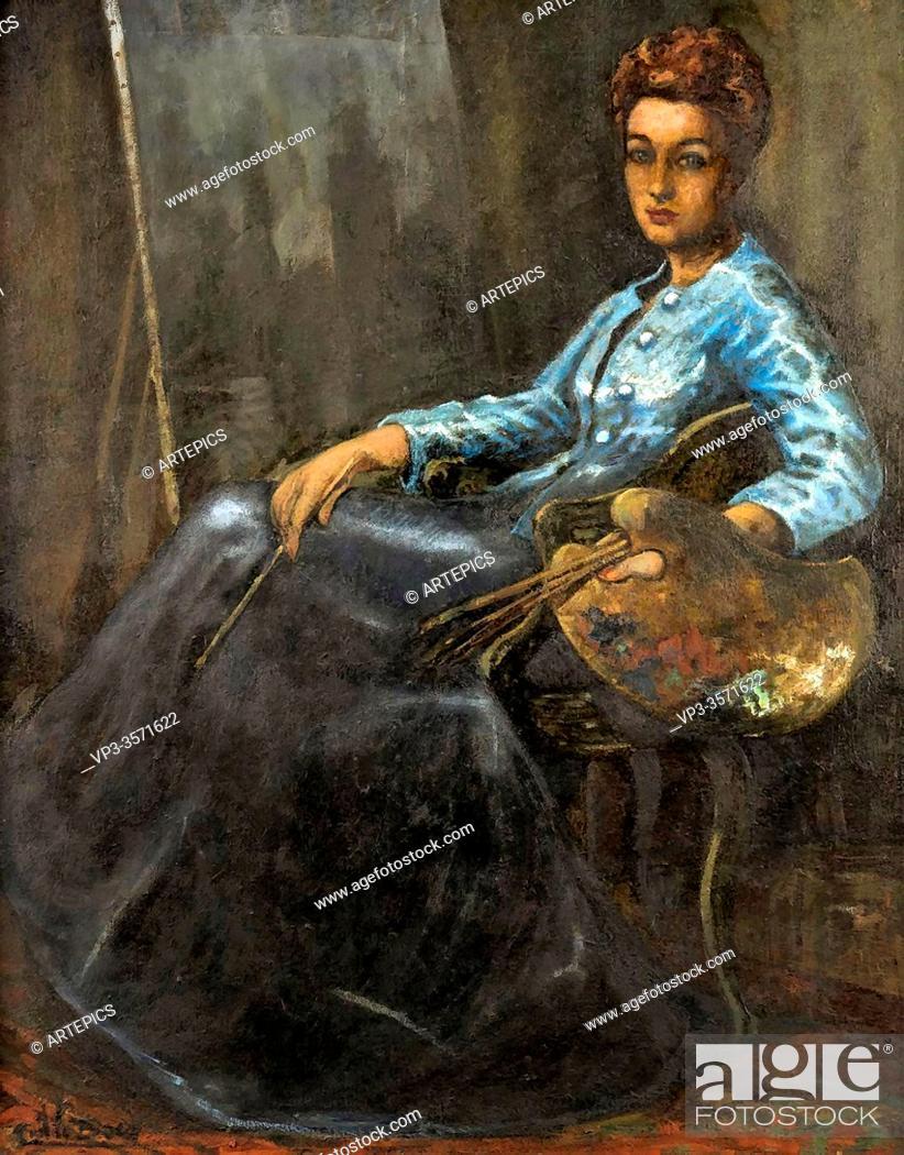 Imagen: Baes Emile - Portrait De Rachel Baes - Belgian School - 19th and Early 20th Century.