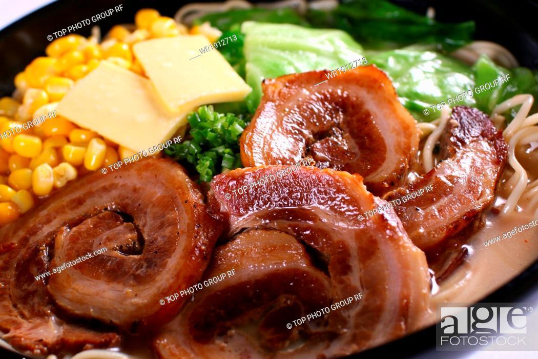 Stock Photo: roast pork stretched noodles.
