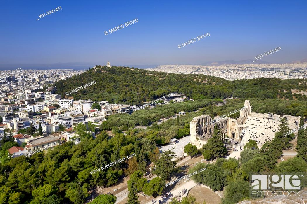 Stock Photo: Athens Greece. From the Acropolis view over the city and the Odeon of Herod the Atticus theatre (Herodeon).