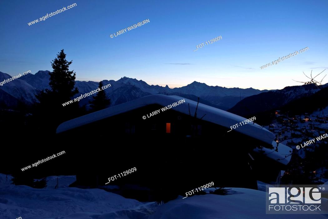 Stock Photo: A chalet in the Swiss Alps.