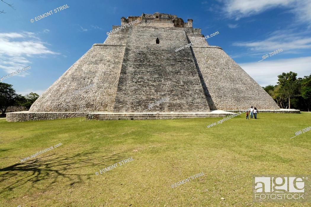 Stock Photo: Piramide del Adivino, pyramid of the magician, Maya archeological site Uxmal, Yucatan, Mexico.