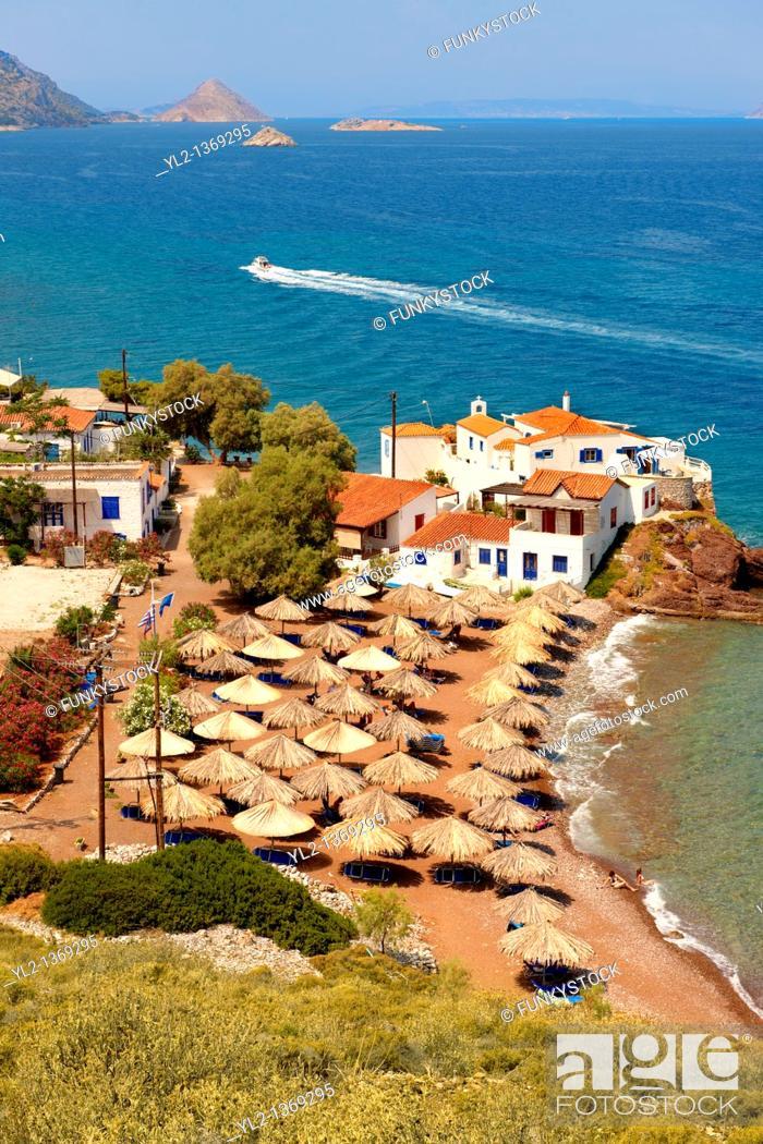 Stock Photo: Vlychos Village & beach, Hydra, Greek Saronic Islands.
