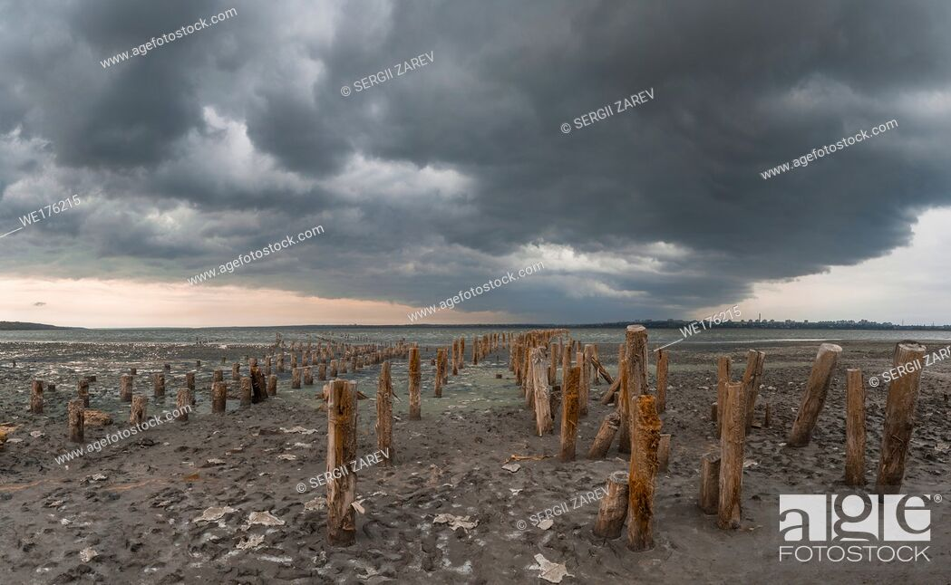 Stock Photo: Storm clouds over the Kuyalnik Salty drying estuary in Odessa, Ukraine.