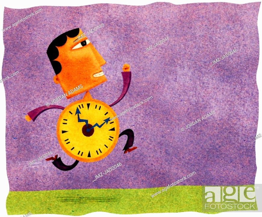 Stock Photo: A running man with a clock for a body.