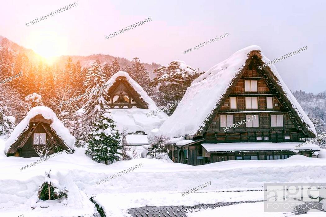 Stock Photo: Shirakawa-go village in winter, UNESCO world heritage sites, Japan.