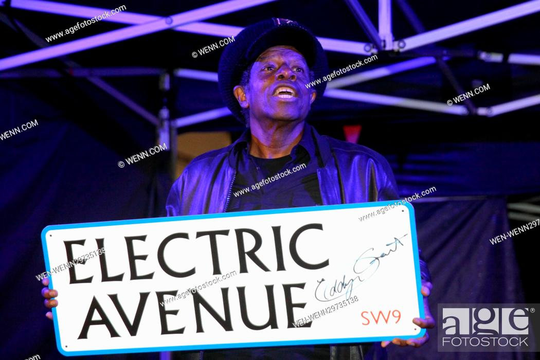 Stock Photo Eddy Grant Turns On A New Electric Avenue Illuminated Sign To Mark The Completion Of 1m Refurbishment Works Along Market Street In