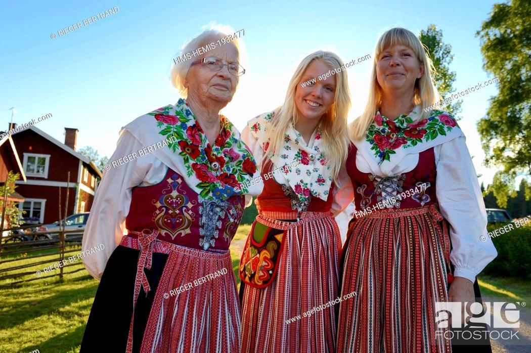 Stock Photo - Sweden Dalarna County Leksand area Midsummer celebrations in the tiny hamlet of Hjulback three women in traditional costumes grandmother  sc 1 st  Age Fotostock & Sweden Dalarna County Leksand area Midsummer celebrations in the ...